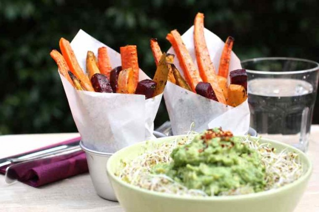 Sweet potato fries with avocado dip